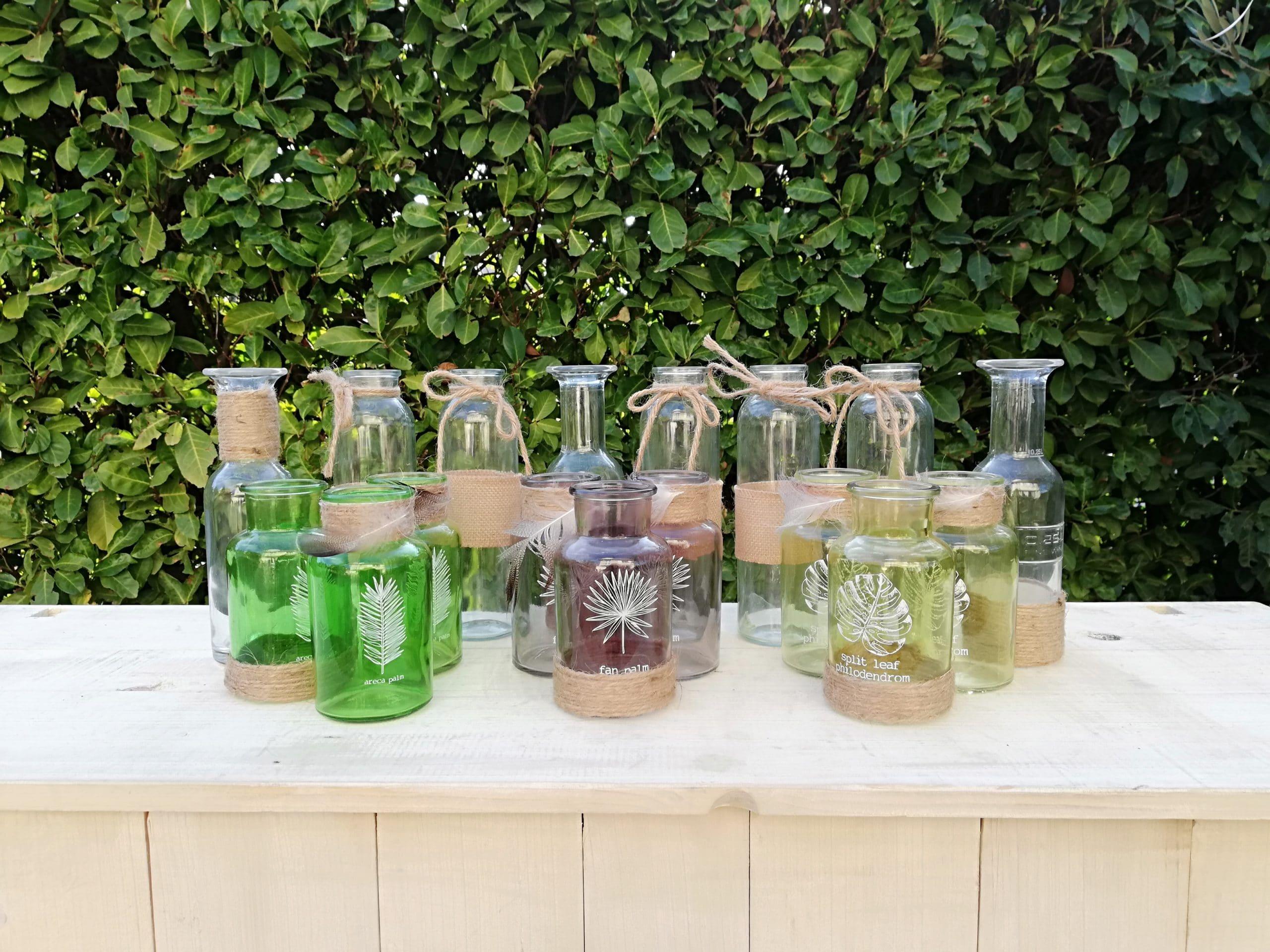 Location d'un lot de petites bouteilles en verre pur la décoration de votre évènements proposé par esprit pop'up