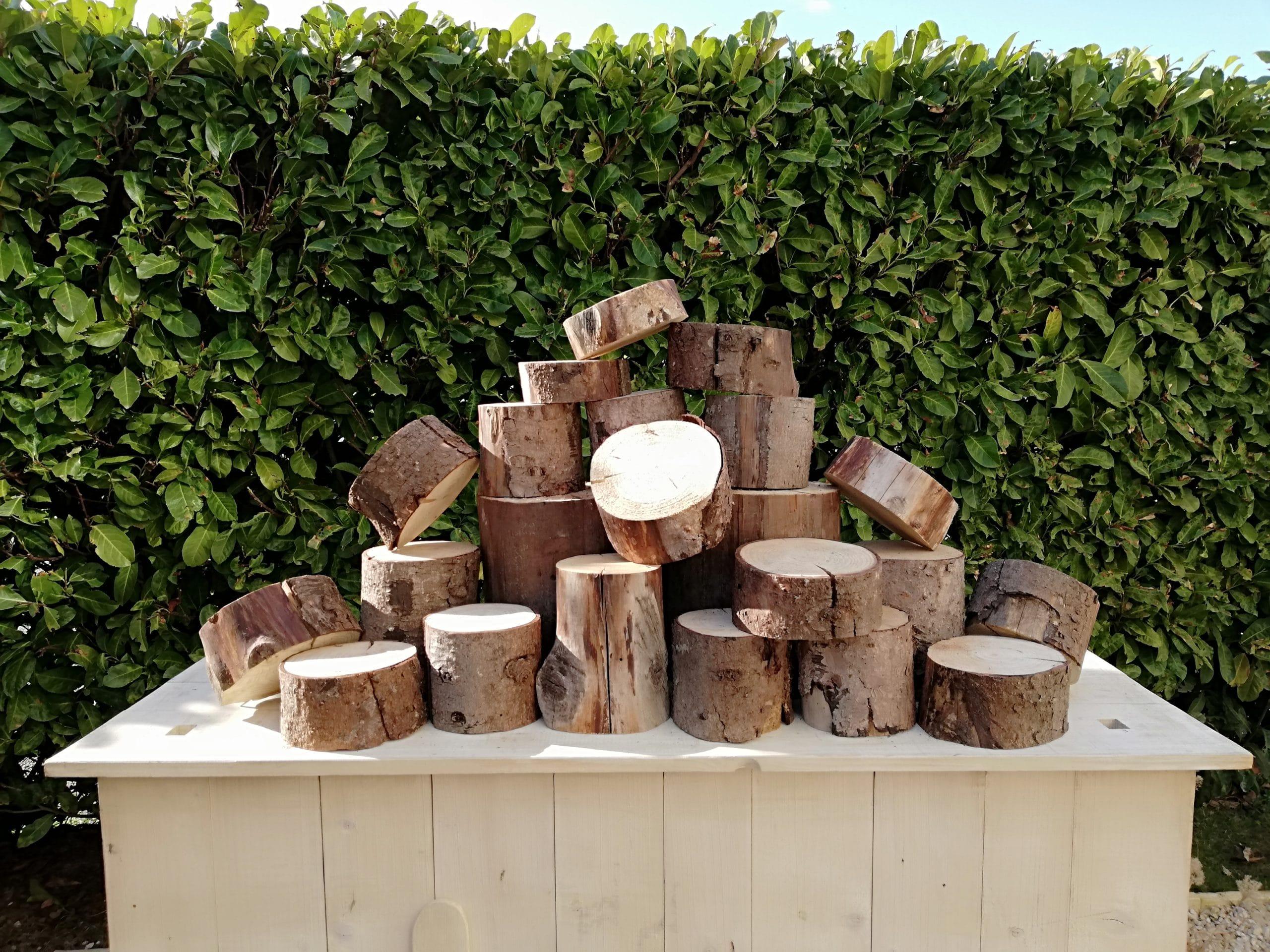 lot de rondins de bois de tailles différentes pour une décoration cmpêtre de votre évènement proposé à la location par esprit pop'up